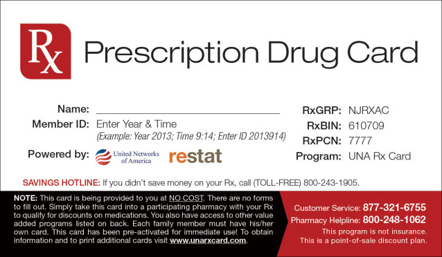 UNA Discount Prescription Card